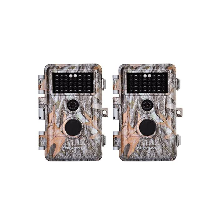 [2020 Upgraded]2-Pack Game Trail & Deer Hunting Cameras 16MP 1080P No Glow Wildlife Cams with Night Vision Motion Activated Waterproof & Password Protected Photo & Video Model Time Lapse & Time Stamp