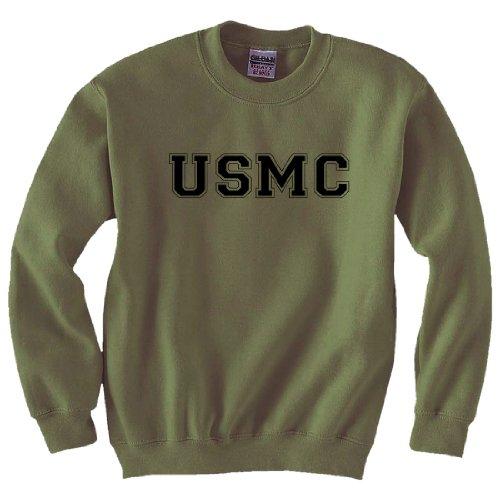 (USMC Athletic Marines Military Style Crewneck Sweatshirt in Military Green - XX-Large)