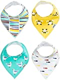 Nikitony Baby Bandana Drool Bibs - Super Soft With Adjustable Snaps - More Absorbent Than Cheap Single Layer Bibs - Cute Unisex Baby Shower Gift Set Of Ocean Style - 4 Pack