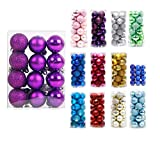 "24ct Christmas Balls Ornaments Multicolor Decorations Tree Balls for Holiday Wedding Party Decoration,1.18"",Purple"