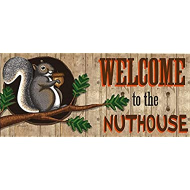 Evergreen Welcome to the Nuthouse Decorative Mat Insert, 10 x 22 inches