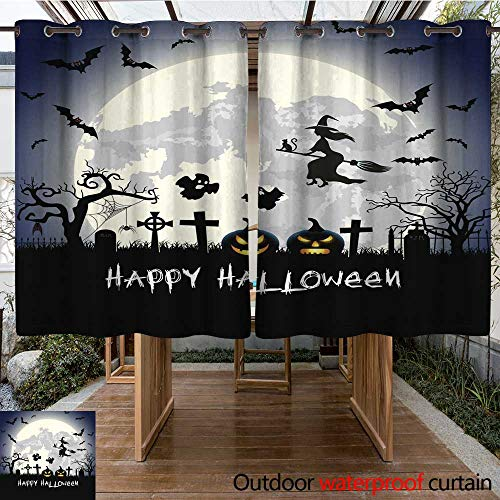 RenteriaDecor Outdoor Curtain for Patio Halloween Illustration with Tomb and Bats W63 x L72 -