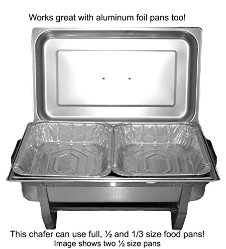5135nzX2mKL - TigerChef 8 Quart Full Size Stainless Steel Chafer with Folding Frame and Cool-Touch Plastic on top - includes 2 Free Chafing Gels and Slotted Serving Spoon (3, 8 Quart Chafer)