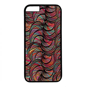 Case for iphone 6 Generation Black Plastic Case Back Cover for iPhone 6 with Colourful Feathers (4.7-Inch)