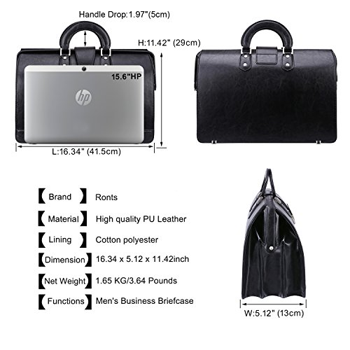 90a0a5fbe90e Ronts Men's Briefcase PU Leather Lawyer Bag 15.6 Inch Laptop Bag Tote Bag  Attach Case with Lock Business Bag Black