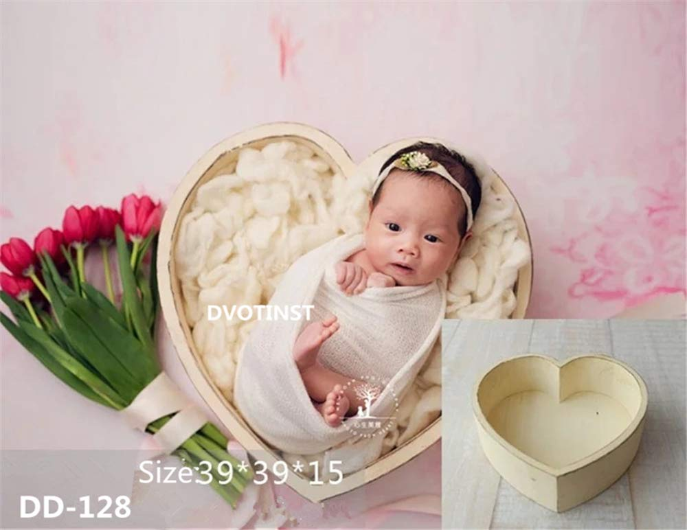 Dvotinst Baby Photography Props for Studio Shoots, Cute Wooden Love Heart Posing Tub for Newborn Babies, Studio Accessories Props (White)