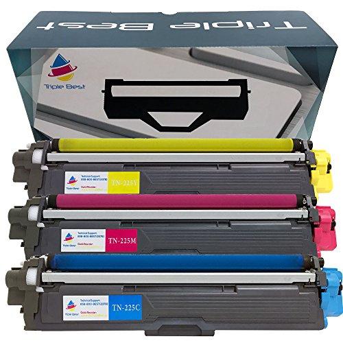 (MyTripleBest Set of 3 TN225 Cyan Magenta Yellow High Yield Compatible Laser Toner Cartridges for Brother TN-225C TN-225M TN-225Y)