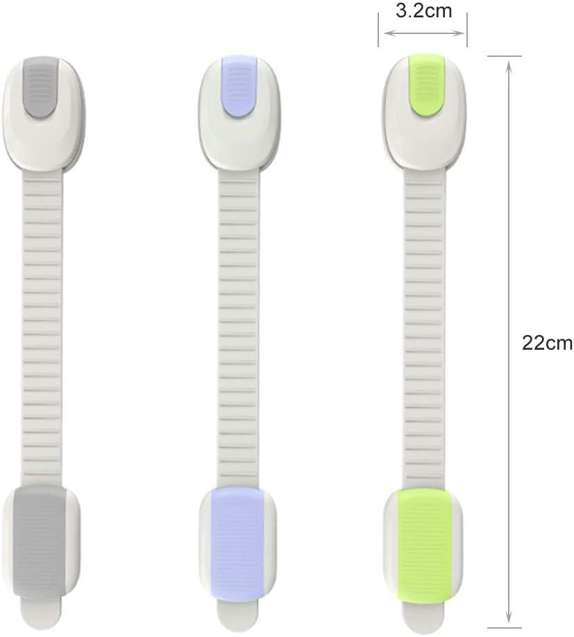 Keleily Cierre Seguridad Cajones Bebe 6Pcs Cerraduras de Seguridad Ajustables para Ni/ños Correas de Armario para Beb/és con Cierres Adhesivos para Gabinetes Cajones Asientos de Inodoro Hornos