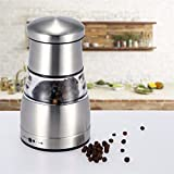 Baban Stainless Steel Premium Salt and Pepper Mill Manual Grinder Set with Adjustable Fine Precision Grinding, Suitable for Peppercorns, Sea Salt, Spices, Cumin and Other Seasoning