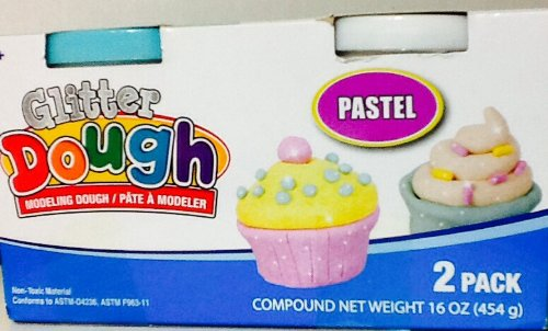 [Glitter Modeling Clay Dough ~ 2 Tubs ~ Pastel Green & White ~ Mold It! Shape It!] (Animals That Start With The Letter E)