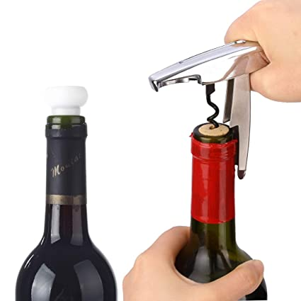 XLDN-Kitchen Tools Herramientas de Cocina Abridor de Botellas de Vino portátil 2en1 + Dispositivo