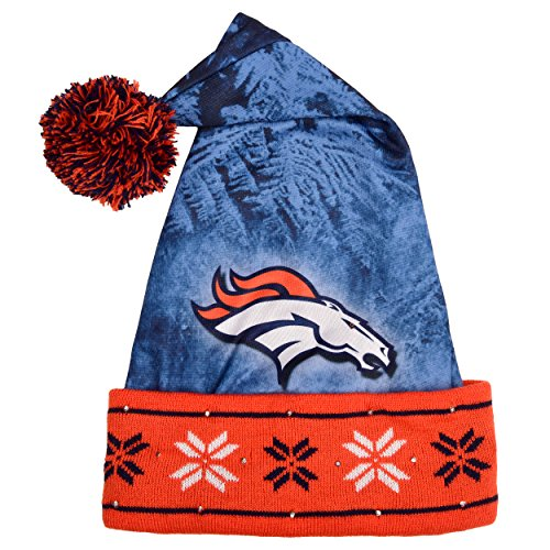 NFL Denver Broncos Light Up Printed Santa Hat, One Size, Blue