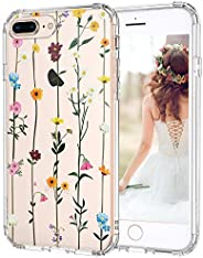 MOSNOVO iPhone 8 Plus Case, iPhone 7 Plus Clear Case, Wildflower Floral Clear Design Transparent Plastic Back