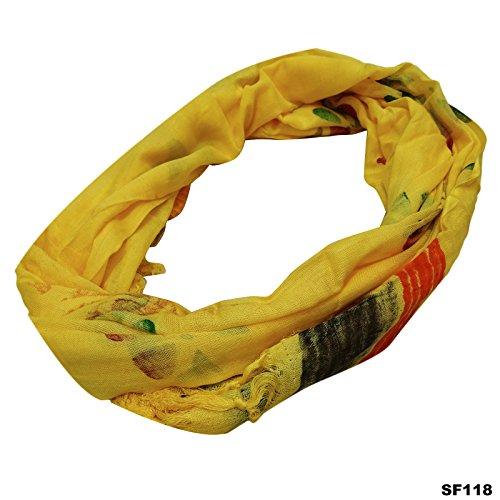 Summer Wear Femmes Foulard Floral impression jaune en coton mélangé longue écharpe indienne Fashion Stole