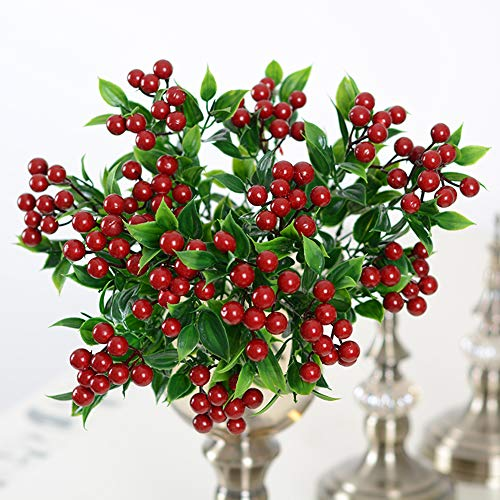 Wootkey 4 Pack 5 Branches Rich Red Artificial Berry Stems Holly Christmas Berries for Festival Holiday and Home Decor ()