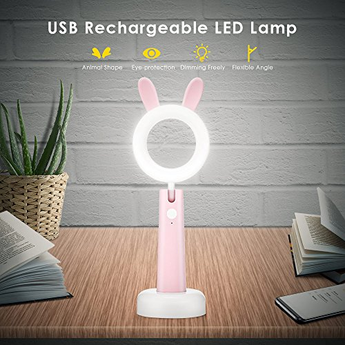 Modern Bunny (Desk Lamp for kids, LED Desk Lamp with Cute Bunny Ear, USB Rechargeable Desk Light Eye-caring Children Studying Lamp, Dimmable & 3 Color Modes for Children Kids Bedroom)