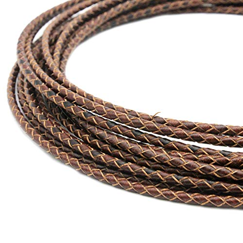 shapesbyX 5 Yards 3mm Leather Bolo Cord for Necklace Bracelet Making Woven Braided Leather Strap for Jewelry Beading Distressed Brown