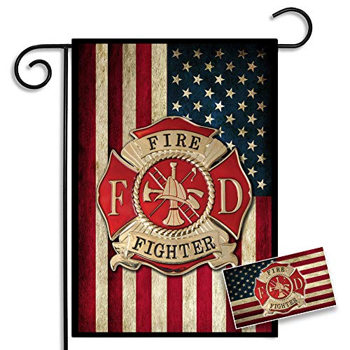 Brotherhood Firefighters American Flag Maltese Cross Garden