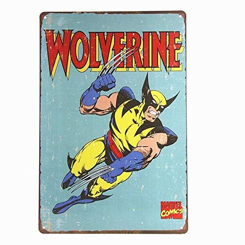 (crzcrz Wolverine Retro Tin Sign X-Men Vintage Wall Art Super Heroes Home Den Dorm Decor Military Tin Signs Size 2030cm OEM Available)