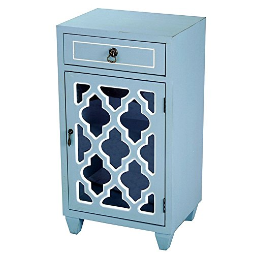 Heather Ann Creations Standing Single Drawer Distressed Storage Cabinet with Multi Clover Mirror Window Inserts, 30'' x 18'', Aqua by Heather Ann Creations