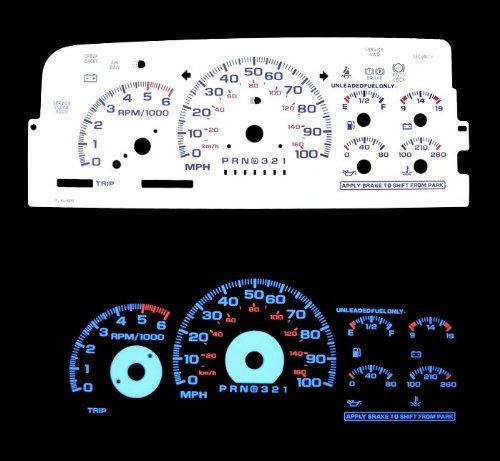 Chevy Suburban Performance Parts (96 97 98 Silverado C/k1500 (Chevrolet Silverado GMC Suburban Yukon Denali Xl Sierra 1500 Tahoe) ck1500 Full Size Truck Blue Indiglo Glow White Gauge)