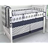 7 Pieces Set Elephant Crib Bedding Baby Bedding Set Sweet Navy Grey Chevron Baby Nursery Crib Bumper