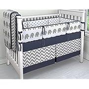 7 Pieces Set Elephant Crib Bedding Baby Bedding Set Sweet Navy Grey Chevron Baby Nursery Crib Bumper