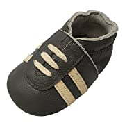 YIHAKIDS Baby Sneaker Genuine Leather Soft Suede Sole Toddler Shoes First Walker Moccasins Multi-Colors (6-6.5 US/6-12 Mo./5.1in, Dark Grey)