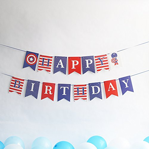 Captain America Theme Party Banner, Hero Theme Party Decoration for Boys,Birthday Hanging Bunting Banner,Happy Birthday Party Flag (Blue)]()