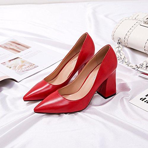 Xue Qiqi high-heel Schuhe Frauen mit fetten schwarzen Spitze und und und vielseitig mit einem frischen Schuh 39 8 CM 0d03df