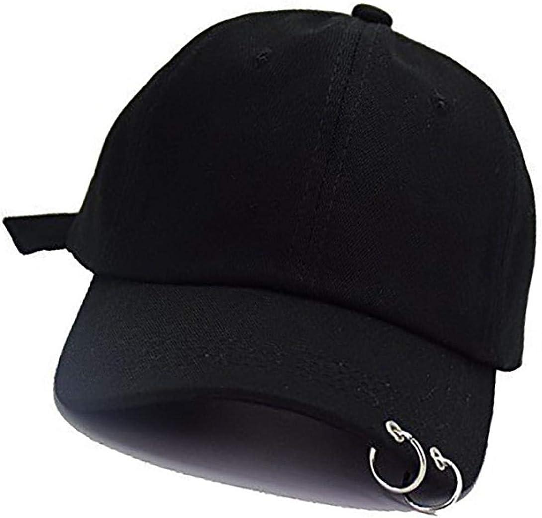 Anillo De Hierro Gorra De Béisbol K-Pop Bangtan Boys Al Aire Libre del Sombrero del Snapback Ajustable Informal Sombrero del Papá De Hip Hop Gorra (Negro)