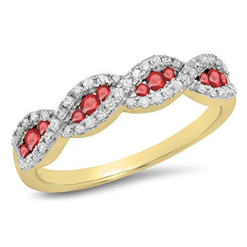 10K Yellow Gold Round Ruby & White Diamond Bridal Stackable Wedding Band (Size - Bands Ruby Gold White Wedding