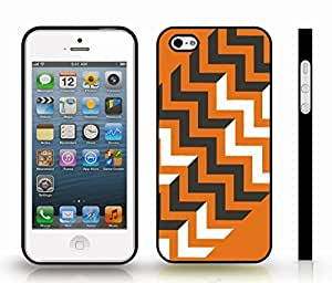 iStar Cases? iPhone 5/5S Case with Chevron Pattern Orange/ Black/ White Stripe , Snap-on Cover, Hard Carrying Case (Black)