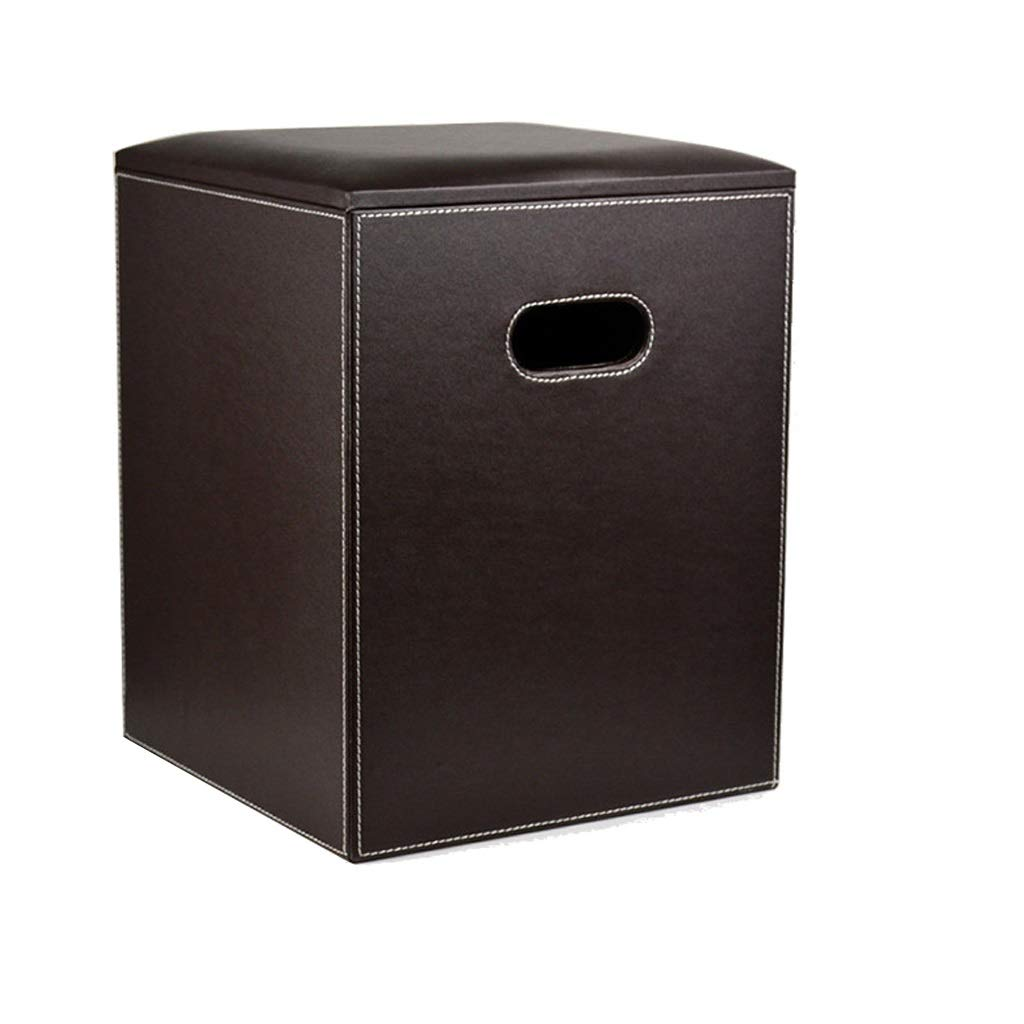 Foot Stool Multi-Function Storage Box Brown Leather Household Change shoes Bench Seat Square Footrest