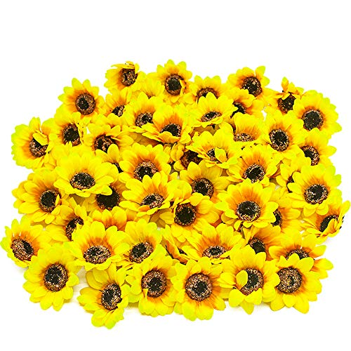 YISNUO Artificial Silk Sunflower Heads, 50 Pcs Fake Sunflower 2.8 for Sunflower Wedding Fall Autumn Party Floral Wreath Accessories