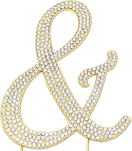 Sparkly Rhinestones Ampersand Cake Topper, Birthday Wedding Anniversary Gold & -