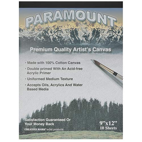 Paramount Artist Double Primed 100% Cotton Canvas Pad - Single Pad (10 Canvas Sheets) - 9