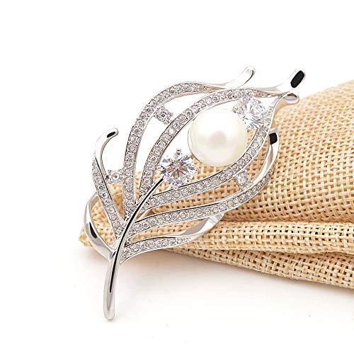 CINDY XIANG Zircon Feather Brooches Women CZ Elegant Coat Suit Accessories Copper Pin Luxury Corsage by CINDY XIANG (Image #4)