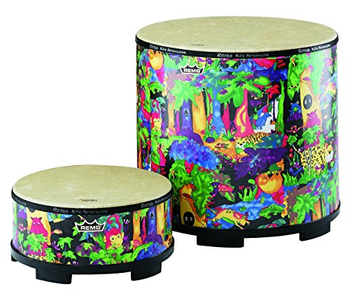 Bongo 5 String Bass - Remo Kids Gathering Drum with Mallets in lovely Rainforest Design (21 x 22 inches; Age 5+)