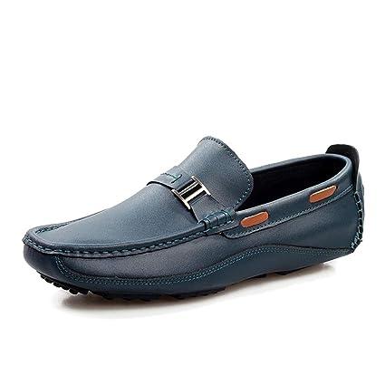 Qiusa Slip para Hombre en Zapatos de Barco, Hecho a Mano de Cuero Genuino,