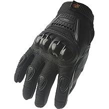 Guantes de dedo completo de motocicleta y bicicleta de calle 09, M, Negro/Plateado