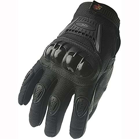 Street Bike Full Finger Motorcycle Gloves 09 (Med, black/silver) - Mens Off Road Motorcycle