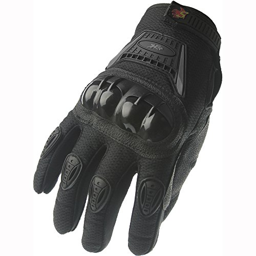 Street Bike Full Finger Motorcycle Gloves 09 (XL, black) by X4