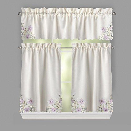 Nantucket Home Spring Lavender Flowers Cutwork Tier Valance Cafe Curtain Set, 3-Piece Nantucket 3 Piece Set