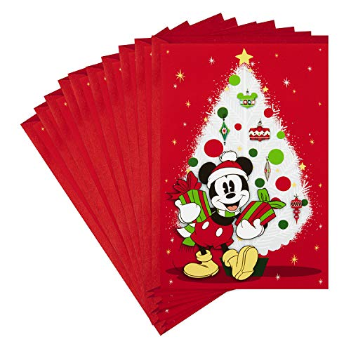 Hallmark Pack of Disney Christmas Cards, Jolly Joyful Mickey Mouse (10 Cards with Envelopes)