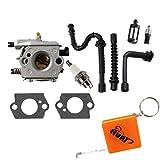 HURI Carburetor with Gasket Fuel Line Oil Line Spark Plug Fuel Filter Oil Filter for Stihl 024 026 024AV 024S MS240 MS260 Walbro WT-194