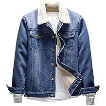 LifeHe Men's Winter Fleece Fur Collar Denim Jacket Coats Light Blue