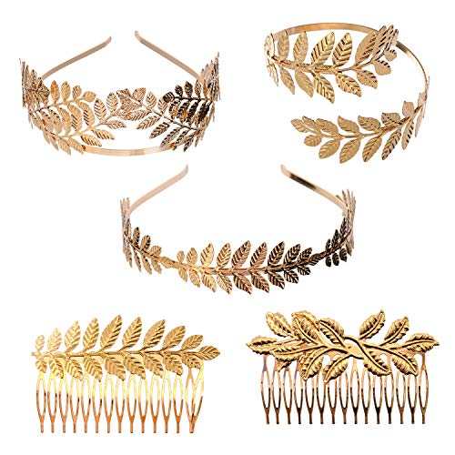 YallFF 5 Pieces Greek Roman Laurel Leaf Bracelet Armband Golden Laurel Leaves Crown Tiara Costume Greek Goddess Headband Hair Comb Bridal Wedding Headpiece Hair Accessories