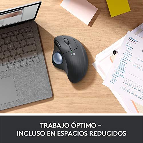 Logitech ERGO M575 Ratón Trackball Inalámbrico, Control sencillo con el pulgar, precisión y seguimiento suave, diseño…
