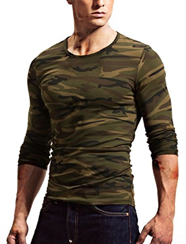 CantonWalker Mens Long Sleeve Camo T Shirts Casual Fitness Cotton Stretch Shirts (X-large, army green) Cotton Stretch Long Sleeve Tee